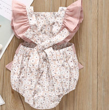 Load image into Gallery viewer, Floral Ruffle Romper- Pink Romper, Baby Clothing, clothing, Lace Romper, new, Romper floral-ruffle-romper-pinkTwo Little Seedlings