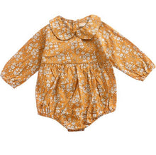 Load image into Gallery viewer, Boutique Floral Baby Romper- Mustard Romper, Baby Clothing, clothing, Lace Romper, new, Romper boutique-floral-baby-romper-mustardTwo Little Seedlings