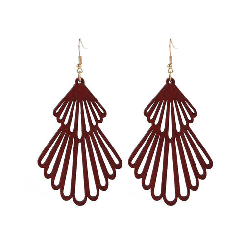 Retro Wooden Handmade Hollow Shell Earrings- Deep Red Wooden Earrings, earrings, new retro-wooden-handmade-hollow-shell-earringsTwo Little Seedlings