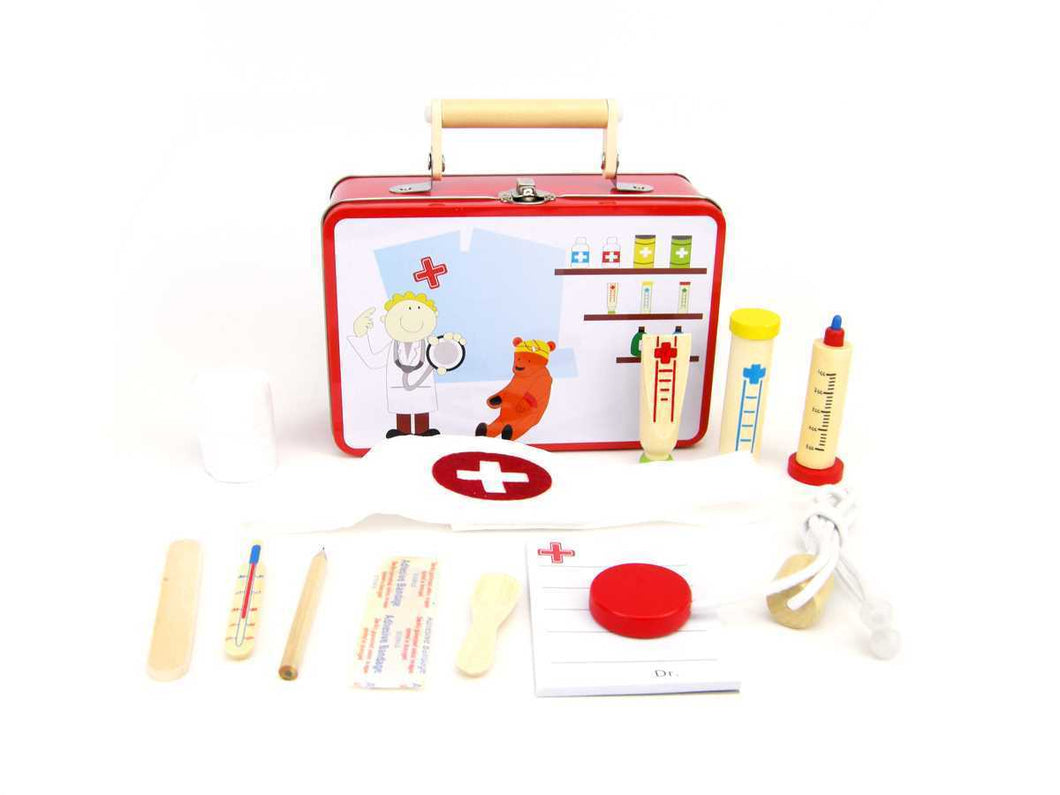 DOCTOR PLAYSET IN TIN CASE Doctor Play Set, toys, wooden doctor-playset-in-tin-caseTwo Little Seedlings