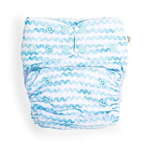 Aqua Waves Modern Cloth Nappy - EcoNaps Convertable Cloth Nappies, Modern Cloth Nappies convertible-cloth-nappy-econaps-aqua-waves-sold-outTwo Little Seedlings