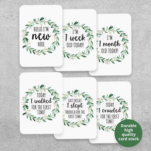 Baby Milestone Cards- Floral Wreath Prints (set of 26) Milestone Cards, Milestone Plaques baby-milestone-cards-set-of-26-baby-shower-gift-unisex-boys-newborn-first-year-floral-wreath-prints-u