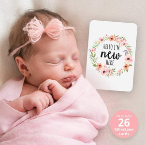 Baby Milestone Cards-  Pink Floral Wreath Prints (set of 26) Milestone Cards, Milestone Plaques baby-milestone-cards-pink-floral-wreath-prints-set-of-26Two Little Seedlings