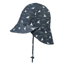 Load image into Gallery viewer, Boys Beach Legionnaire Hat UPF50+ 'Jaws' Print Chlorine Resistant Swim Hat with Chin Strap Baby & Children's Hats, baby & children's hats, featured, hats boys-beach-legionnaire-hat-upf50-jaws