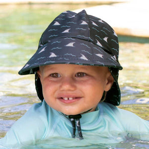 Boys Beach Legionnaire Hat UPF50+ 'Jaws' Print Chlorine Resistant Swim Hat with Chin Strap Baby & Children's Hats, baby & children's hats, featured, hats boys-beach-legionnaire-hat-upf50-jaws