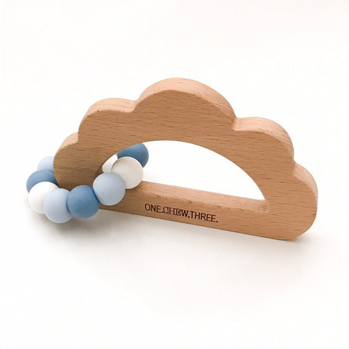 CLOUD Silicone and Beech Wood Teether- Blue sky teether, chew, teether cloud-silicone-and-beech-wood-teether-blue-skyTwo Little Seedlings
