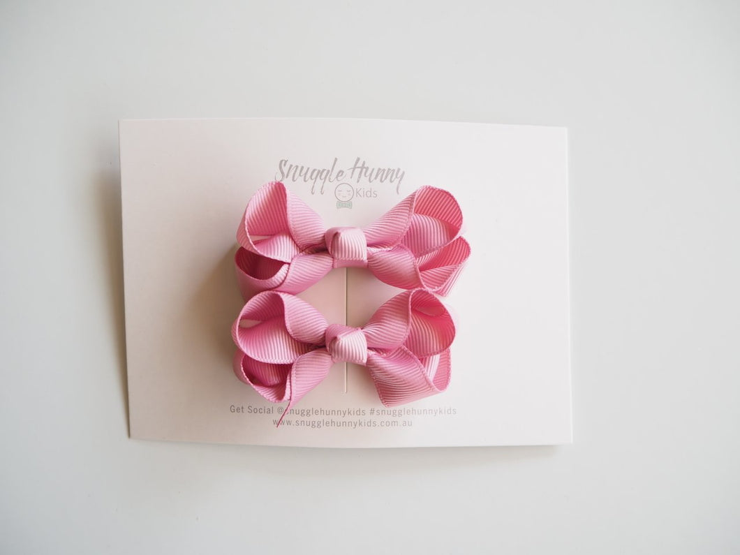 Dusty Pink Clip Bow - Small Piggy Tail Pair Bow clips, headband, new dusty-pink-clip-bow-small-piggy-tail-pairTwo Little Seedlings