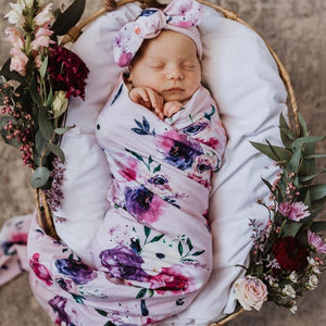Floral Kiss I Baby Jersey Wrap & Topknot Set Stretch Swaddle Wrap Set Swaddle, new, Swaddle floral-kiss-i-baby-jersey-wrap-topknot-set-stretch-swaddle-wrap-setTwo Little Seedlings