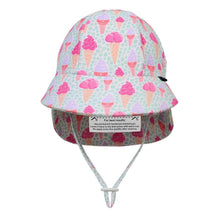 Load image into Gallery viewer, Girls Beach Legionnaire Hat UPF50+ 'Ice Cream' Print Chlorine Resistant Swim Hat with Chin Strap Baby & Children's Hats, baby & children's hats, featured, hats girls-beach-legionnaire-hat-upf