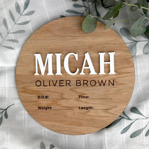 Baby Name Announcement Disc | Personalised Baby Plaque | lasercut timber | Newborn Gift | Name Plaque | Baby Birth Announcement | newborn Milestone plaques, birth, birth announcement plaque,