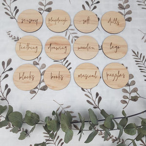 Personalised Wooden Toy Labels - Ikea Trofast wooden labels - play room storage labels, wooden storage organisation - Toy Box Tags in timber Personalised Wooden Toy Labels, Baby Clothing, bab