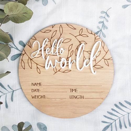 BIRTH ANNOUNCEMENT card - leaf detail and 3D Hello World plaque - name announcement - baby birth disc - New Baby Gift Milestone plaques, birth announcement plaque, featured, Milestone Plaques