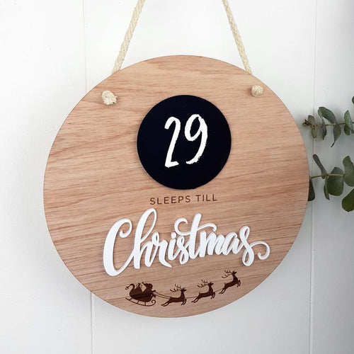 Christmas Countdown Plaque | Sleeps Until Christmas Plaque | Sleeps until Christmas Countdown Wall | Hanging Kids Christmas Sign Chalk Board Christmas Countdown Plaque, christmas, new christm
