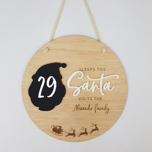 Personalised Christmas Countdown Plaque | Sleeps Until Santa Christmas Visits Plaque | Sleeps until Christmas Countdown Wall | Hanging Kids Christmas Countdown Plaque, christmas, Milestone Pl