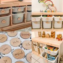 Load image into Gallery viewer, Personalised Wooden Toy Labels - Ikea Trofast wooden labels - play room storage labels, wooden storage organisation - Toy Box Tags in timber Personalised Wooden Toy Labels, Baby Clothing, bab