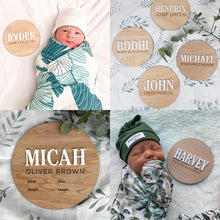 Load image into Gallery viewer, Baby Name Announcement Disc | Personalised Baby Plaque | lasercut timber | Newborn Gift | Name Plaque | Baby Birth Announcement | newborn Milestone plaques, birth, birth announcement plaque,