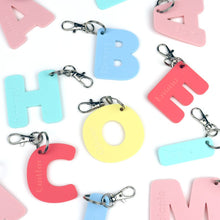 Load image into Gallery viewer, Personalised letter kids name tags, Pastel acrylic, Laser cut bag tag - key ring for kids, daycare, preschool, school bag, plastic name tag Acrylic Name Tags, bag tag, daycare, name tags, per