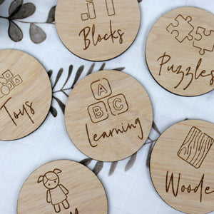 Personalised Wooden Toy Labels with illustrations - Ikea trofast wooden labels - labels for ikea box Toy Box Tags Timber Toy Storage images Personalised Wooden Toy Labels, Baby Clothing, baby