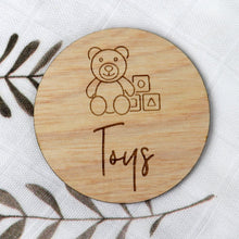 Load image into Gallery viewer, Personalised Wooden Toy Labels with illustrations - Ikea trofast wooden labels - labels for ikea box Toy Box Tags Timber Toy Storage images Personalised Wooden Toy Labels, Baby Clothing, baby
