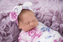 Load image into Gallery viewer, Lilac Skies I Snuggle Swaddle & Topknot Set Baby Swaddle Sack Swaddle, new, Swaddle lilac-skies-i-snuggle-swaddle-topknot-setTwo Little Seedlings