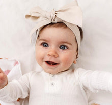 Load image into Gallery viewer, Natural Linen Bow Pre-Tied Headband Wrap Baby Bow Headband, featured, headband, new natural-linen-bow-pre-tied-headband-wrap-baby-bowTwo Little Seedlings