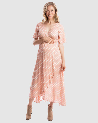Harlow Maternity & Nursing Wrap Dress in Peach Polka Dot Maternity Dresses, maternity, sale harlow-maternity-nursing-wrap-dress-in-peach-polka-dotTwo Little Seedlings