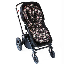 Load image into Gallery viewer, Pram Liner - Black Flower Pram Liner Set, Pram Liner, pram liner set, sale pram-liner-black-flowerTwo Little Seedlings