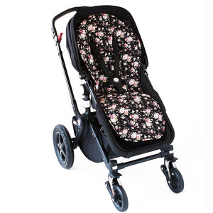 Pram Liner - Black Flower Pram Liner Set, Pram Liner, pram liner set, sale pram-liner-black-flowerTwo Little Seedlings
