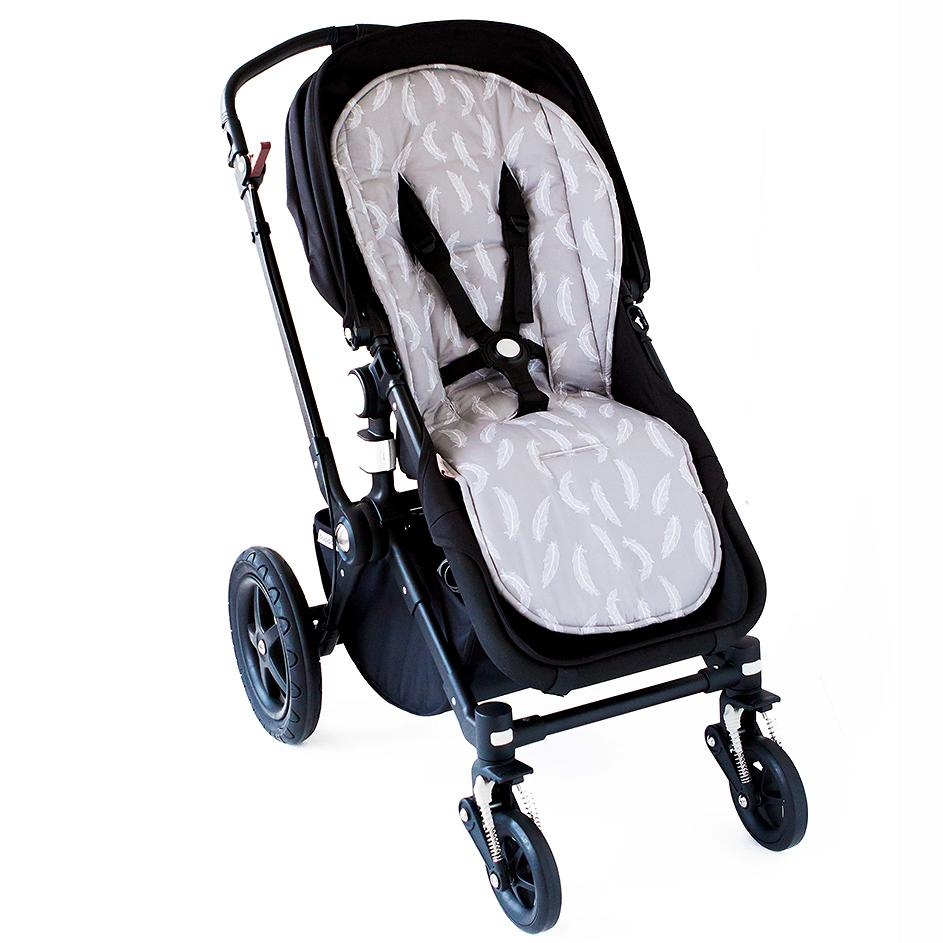 Pram Liner  - Grey Feathers Pram Liner set, Pram Liner pram-liner-grey-feathersTwo Little Seedlings