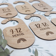 Load image into Gallery viewer, Baby clothing dividers wooden set of 7 BABY CLOTHING DIVIDERS, Baby Clothing, baby clothing dividers, Milestone Plaques, new, personalised baby-clothing-dividers-wooden-setTwo Little Seedling