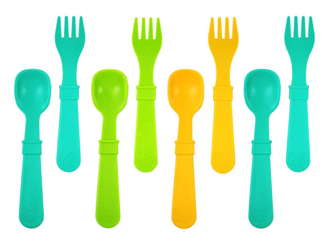 Re-Play Utensils 8 Pack (4 Forks / 4 Spoons) - Aqua (2ea) / Green (1ea) / Sunny Yellow (1ea) Cutlery, cutlery, Meal time, new, replay re-play-utensils-8-pack-4-forks-4-spoons-aqua-2ea-green-1