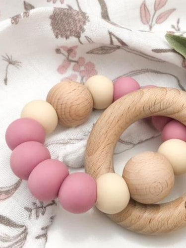 SINGLE RATTLE- Silicone and Beech Wood Teether- Dusky Rose & Cream Teether, teether single-rattle-silicone-and-beech-wood-teetherTwo Little Seedlings