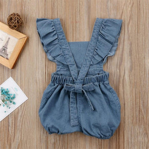Denim Romper/Jumpsuit Romper, Baby Clothing, clothing, Lace Romper, new, Romper denim-romper-jumpsuitTwo Little Seedlings