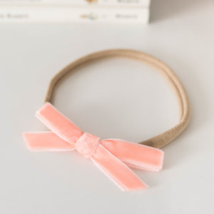 Velvet Petite Bow Baby- Coral Headband, featured, headband, new velvet-petite-bow-baby-coralTwo Little Seedlings
