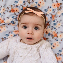 Load image into Gallery viewer, Velvet Petite Bow Baby- Coral Headband, featured, headband, new velvet-petite-bow-baby-coralTwo Little Seedlings