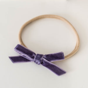 Velvet Petite Bow Baby- Violet Headband, featured, headband, new velvet-petite-bow-baby-violetTwo Little Seedlings