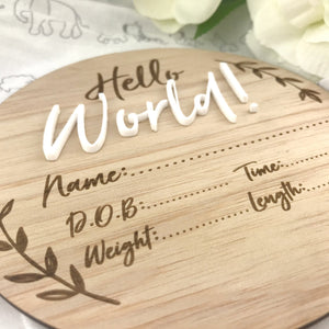 "Wooden Announcement Plaque ""Hello World"" Milestone plaques, Milestone Plaques hello-world-1Two Little Seedlings"
