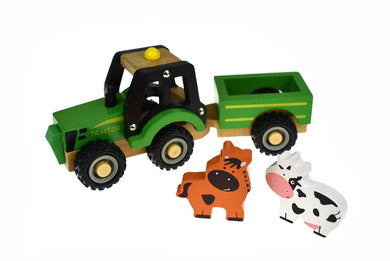 WOODEN TRACTOR WITH ANIMAL - Two Little Seedlings