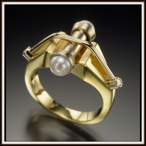 """ACADIA"" Gold Suspension Ring"