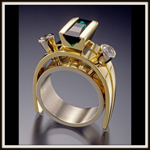 """STARGAZER"" Green Tourmaline & Diamond Ring"