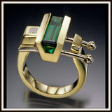"""COMPOSE"" Green Tourmaline & Diamond Ring"