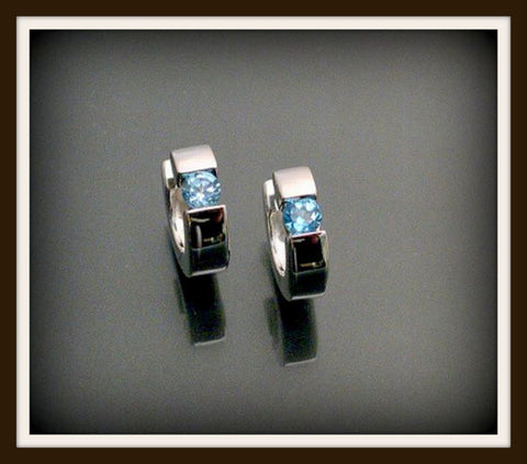 """BLUE TOPAZ""  Sterling Silver Hinged Earring"