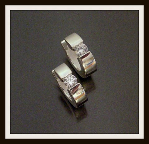 """WHITE"" Sterling Silver & Cubic Zirconia Hinged Earring"