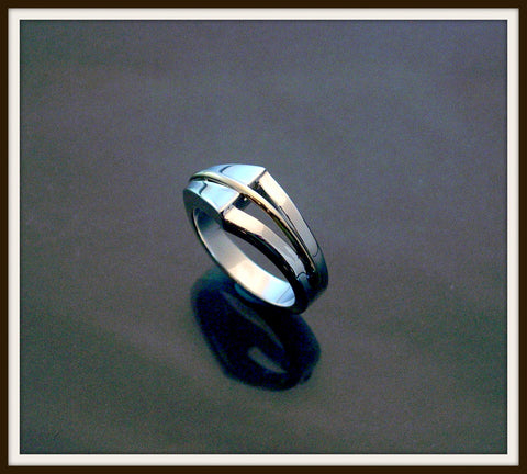 """CELINE"" Sterling Silver & Gold Ring"