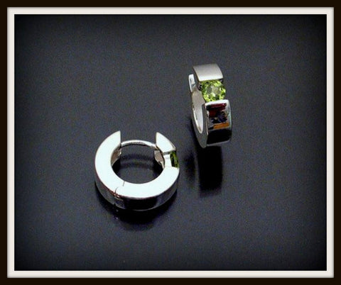 """PERIDOT"" Sterling Silver Hinged Earring"