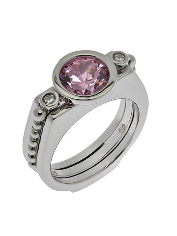"""ROYAL TWIST"" with 2 CZ's  Interchangeable stone Ring"