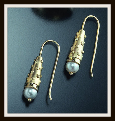 """DOTTED CONE"" Gold Earrings"