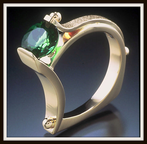 """CRADLE"" Green Tourmaline Ring"