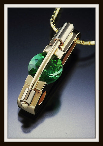 """EMMA"" Green Tourmaline & Gold Pendant"