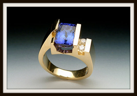 """PACIFIC"" Tanzanite & Gold Ring"